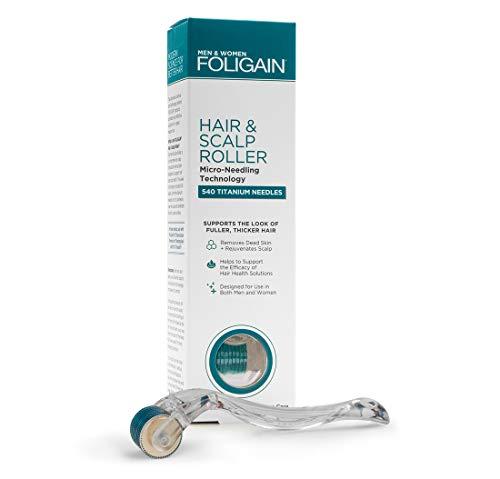FOLIGAIN - Rullo per capelli e cuoio capelluto - Rullo in microaghi per capelli diradati - Microaghi in titanio 540 a 0,25 mm - Derma Rullo indolore per uomo e donna