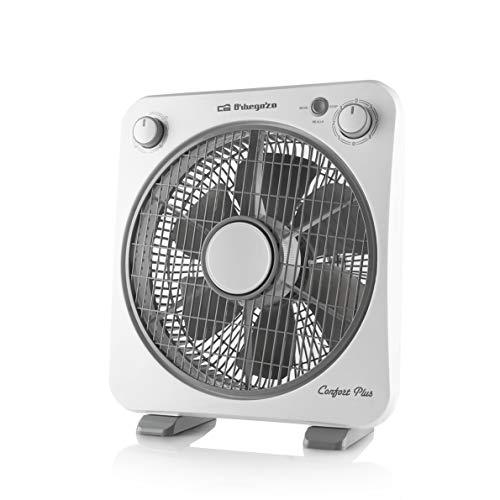 Orbegozo BF 0138 - Ventilatore da pavimento con 6 pale, griglia di protezione girevole bidirezionale, 3 velocità di ventilazione, diffusore rotativo, timer da 60 minuti, 40 W di potenza