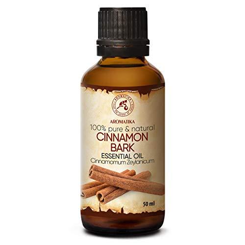 Olio Essenziale Cannella 50ml - Cinnamomum Zeylanicum - Aromaterapia - Fragranza per Ambienti - Olio di Cannella Puro Naturale al 100% - Cura della Pelle & Capelli - Diffusori