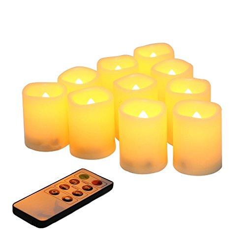 Candele a LED tremolanti senza fiamma, con telecomando, funzionamento a batteria, set di 10 candele elettriche da esterno, timer per Natale, decorazioni natalizie (batterie incluse) 200 ore