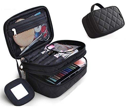 Trousse Make Up, Borsa Cosmetica, ONEGenug Borsa Make Up 20 * 12 * 8 cm Doppio Strato con Specchio per le Donne Nero