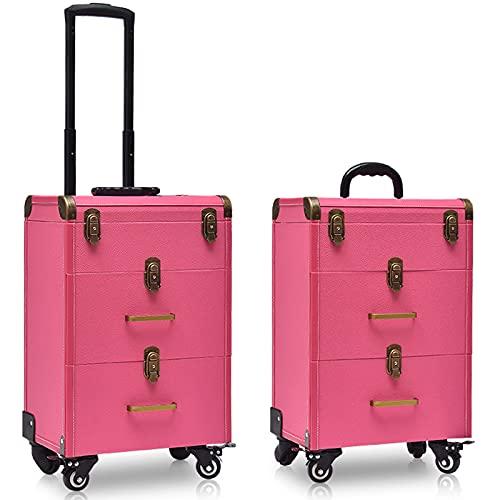 N \ A Trolley per Unghie Trolley per Trucco Beauty Case su Ruote Trolley per Trucco Beauty Train Carry Case in Pelle di Lusso per Parrucchieri Trucco Beauty Trolley - Trolley per PRO Make Up/Nail