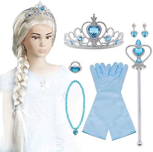Vicloon Aggiornamento Accessori Costumi per Ragazze Costume Elsa Costume Carnevale - Parrucca / Diadema con un Diamante / Guanti / Bacchetta Magica