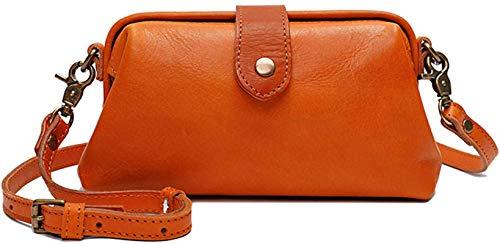 ZGHYBD Premium Leather Retro Handmade Bag Premium Leather Toiletry Travel Pouch with Waterproof Lining for Women Handbag Work Purse Orange