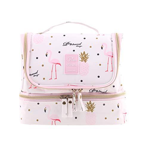 Tuscall Beauty Case da Viaggio da appendere Borsa da Toilette - Borsetta da Viaggio Impemeabile per Cosmetici, Accesori da Viaggio (Pink Flamingo)