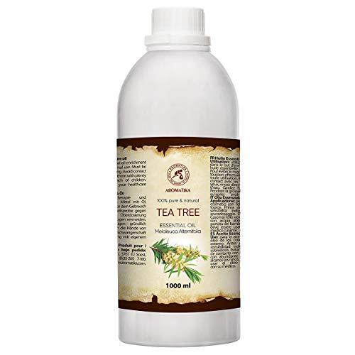 Tea Tree Essential Oil 1000ml - Melaleuca Alternifolia - Aromaterapia - Oli Essenziali 1L - Olio dell'albero del th Puro e Naturale al 100% - Cura della Pelle e dei Capelli - Diffuso - Casa
