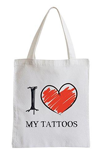 Amo miei tatuaggi Divertimento sacchetto di iuta
