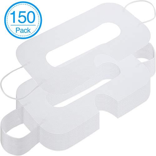 150 Pacco Maschera VR Maschera per Occhi Sanitaria Non Tessuta Maschere Monouso VR Copertura Compatibile con Cuffia Avricolare VR H-T-C Cuffia per Realtà Virtuale Vive (Bianco)
