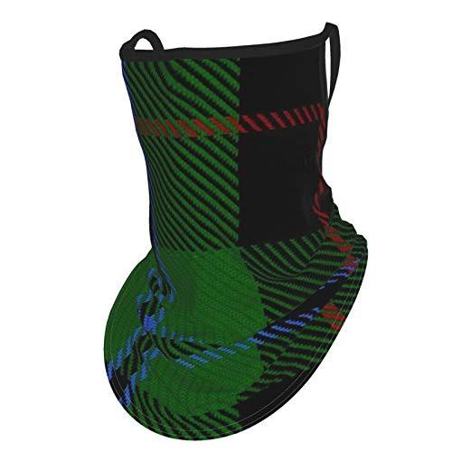 Douglas - Maschera da viso unisex in microfibra, motivo tartan (nero) con occhielli per le orecchie grandi, bandana riutilizzabile, in tessuto traspirante, protezione dai raggi UV e dalla polvere