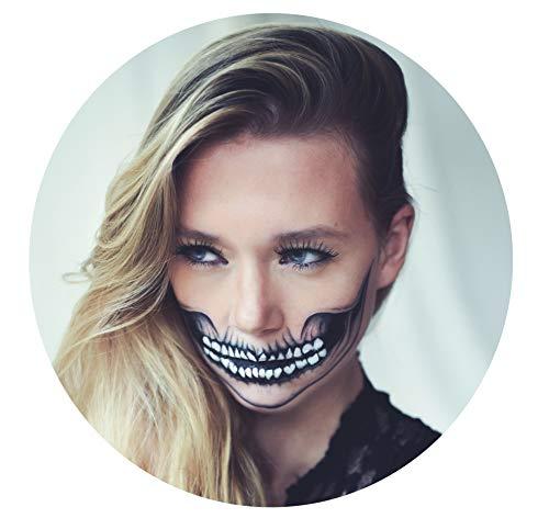 Tattoocrew® - 4 tatuaggi per Halloween, motivo teschio, da incollare sul viso