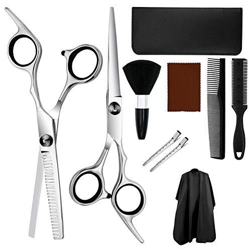 Set di forbici da taglio per capelli da 10 pcs ZUYPSK Professionale in Acciaio Inossidabile per Assottigliamento e Strutturazione di Modellazione Set di Parrucchieri per Donna, Uomo e Bambino