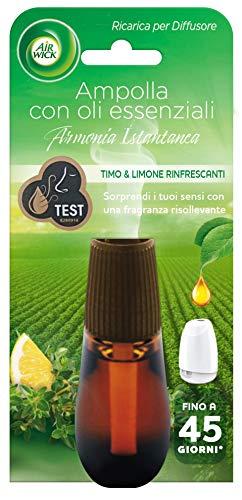 Airwick Ricariche per Diffusore di Oli Essenziali, fragranza Timo e Limone rinfrescanti - Confezione da 1 Ricarica