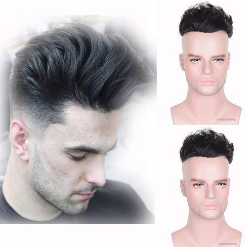 Auspiciouswig, Parrucchino da uomo di capelli naturali umani, toupet di ricambio, mono fine con PU per uomini, 20,3x 15,2cm