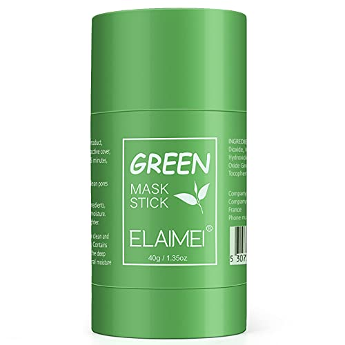 Green Tea Purifying Clay Stick Mask, Deep Cleansing Mask Oil Control Anti-Acne Mask Fine Solid Mask Green Tea Aubergine Blackhead Remover Face Mask Pores Shrink