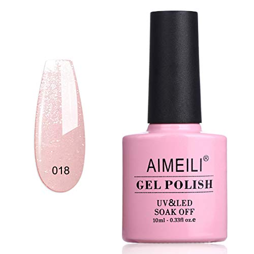 AIMEILI Smalto Semipermente per Unghie in Gel UV LED Smalti per Unghie Colori per Manicure - Sparkle Grapefruit (018) 10ml