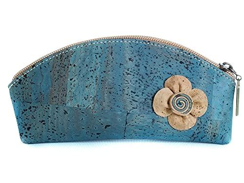 Beauty case in sughero naturale fatto a mano. Vegano Modello'Flor' blu.