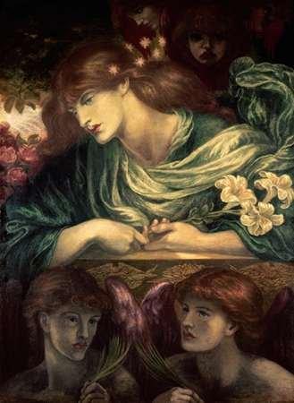 Feeling at home STAMPA-ARTISTICA-su-TELA-ARROTOLATA-Beatrice-Rossetti-Dante-Gabriel-museo-cm72x53