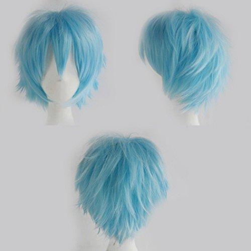 Parrucca Corta Cosplay Unisex Parrucca Piena a Strati Naturali Capelli Lisci Parrucca per Feste Anime per Donna Uomo Ragazzo Azzurro