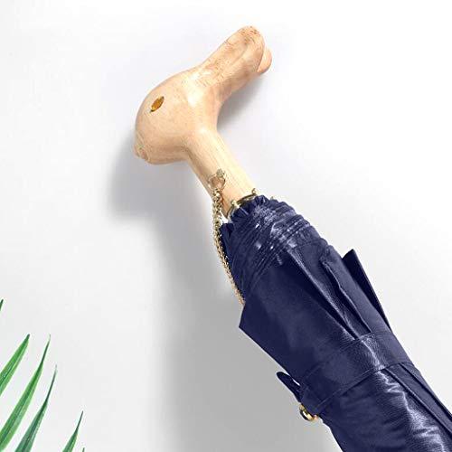 ZY Ombrello Pieghevole Ripiegabile per Donna, ombrellone Parasole con Protezione Solare in Feltro a Mano Testa di Coniglio,Darkblue