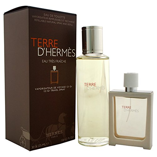 Hermès Terre d'Hermes Eau Tres Fraiche, Profumo da viaggio ricaricabile 30 ml e ricarica 125 ml