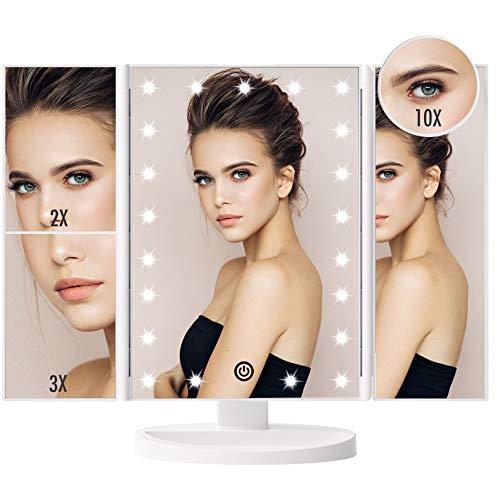FASCINATE Specchio Trucco,Specchio per Trucco Illuminato con 21 LED Luci Ingranditore 10x 3X 2X 1x Rotazione 180° Touch Screen Pieghevole Specchio Make up(Bianco)