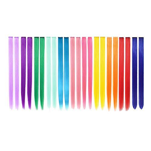 22 estensioni dei capelli colorati PCS in 11 colori, evidenziando le ragazze con capelli lisci da 22 pollici, accessori per capelli alla moda