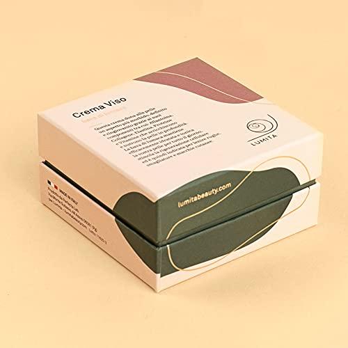 Lumita |50ml Crema Viso Donna Bava Di Lumaca Pura 100% con Vitamina C/E+Acido Ialuronico. Azione Antietà, Cicatrizzante e Antimacchia per Viso, Collo e Contorno Occhi. Regalo di Lusso Made in Italy