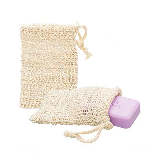 ECENCE 2x sacchetti per sapone in sisal Rete per sapone naturale Sacchettino per sapone Sacchetto per sapone Spugna per sapone Porta sapone 14cm x 9cm