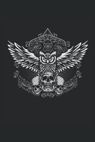 Gufo teschio: Quaderno Regali Gufo Mystical Bird Skull a righe (formato A5, 15, 24 x 22, 86 cm, 120 pagine)