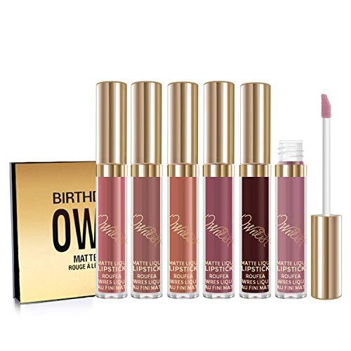 Ownest 6 Colori Matte Liquid Lipstick Set Lip Gloss Impermeabile di Lunga Durata LipStick Antiaderente Tazza Idratante Liquido Rossetto