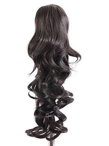 Prettyland - 60cm clip-in extension coda di cavallo treccia capelli ricci ondulati posticcio ispessimento estensione- nero naturale 4