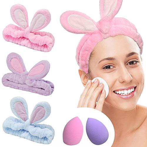 YMHPRIDE Cerchietto Spa- 3 pezzi fascia di coniglio per ragazze donne fascia elastica bella morbida Carol con set frullatore spugna trucco, Fascia per capelli con fascia per il trucco(3 colori chiari)