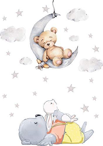 Szeridan D308 - Adesivo da parete, motivo: orsetto sulla luna, coniglio, nuvole, stelle, animali, per la cameretta dei bambini, lunghezza 100 x 140 cm