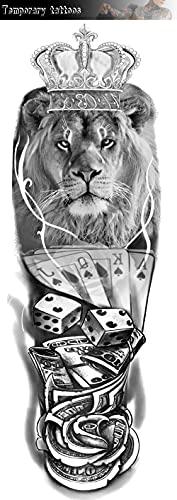 Corona Leone Tigre Lupo Figura Braccio Completo 17X48cm-3Pcs Tatuaggio Per Impermeabile Realistico Con Piccoli Tatuaggi Temporanei Neri Tatuaggi Falsi Sulla Spalla Del Petto Del Braccio Del Corpo Pe