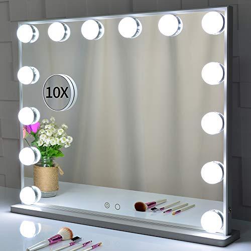 Specchietto da toilette illuminato con lampadine a 14 Led Sostituibile, specchio da trucco in stile hollywood Specchi da cosmesi con design Touch Control, specchi da tavolo o da appoggio a parete