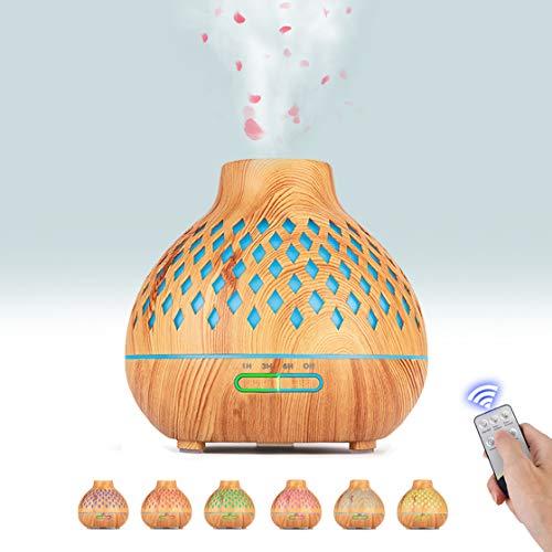 Boaxunly Diffusore di Oli Essenziali, 400ML Diffusore di Aromi Ultrasuoni con 7 Luci Colorate, 3 Impostazioni Timer e Modalità Nebulizzazione Regolabile, Senz'acqua Spegnimento Automatico