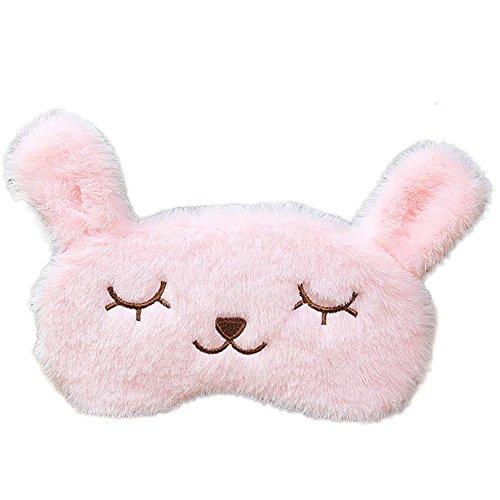 Bigboba Mascherina per gli Occhi a Forma di Coniglio, per Donne e Ragazzi, Graziosa, Rosa, con Occhi di Coniglio, per Dormire, Rinfrescante, Riscaldante, 20 x 10 cm