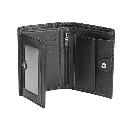 ACKY Portafoglio Uomo RFID Blocking Pelle Carbonio con 9 Porta Carte di Credito, 2 Finestra ID, 1 Portamonete Cerniera, 1 tasca della moneta, 2 Scomparti Banconote, Portafogli Uomo Trifold Verticale