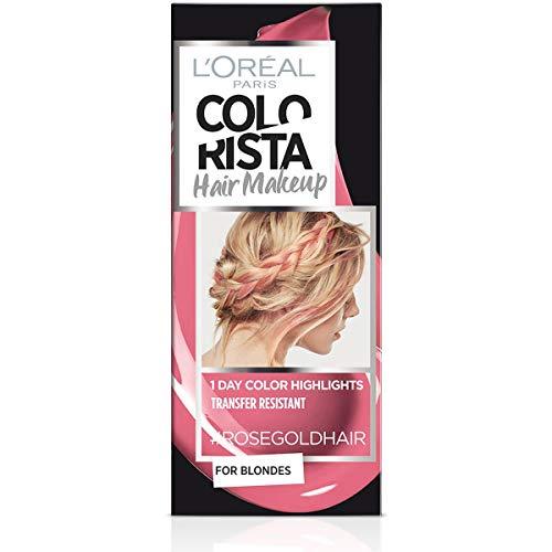 L'Oréal Paris Colorista Hair Makeup Colorazione Temporanea 1 Giorno per Ciocche e Punte, Tinta per Capelli Biondi, Meches Rosa Oro, 30 ml