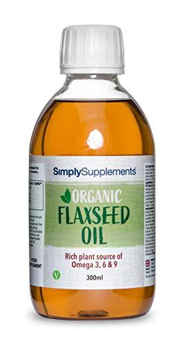 Olio di lino biologico 300 ml - Spremuto a freddo per uso alimentare - Adatto ai vegani - Simply Supplements