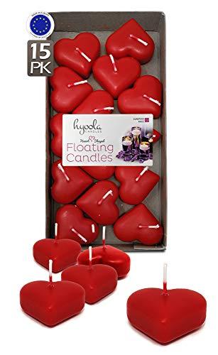 Hyoola Premium - Candele galleggianti a Forma di Cuore Rosso, 4,6 cm, 2 Ore, Confezione da 15, Made in European