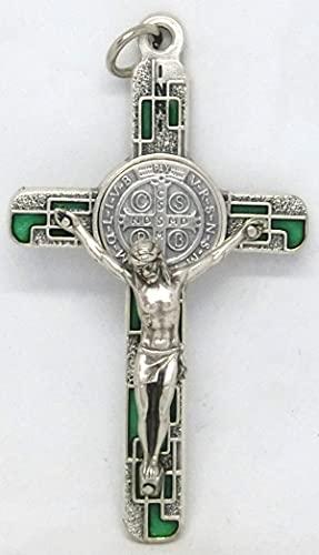 GTBITALY 10.674.31 ms Croce di San Benedetto Argento con Smalto Mosaico con Anello 8 cm esorcista esorcismo Verde Smeraldo