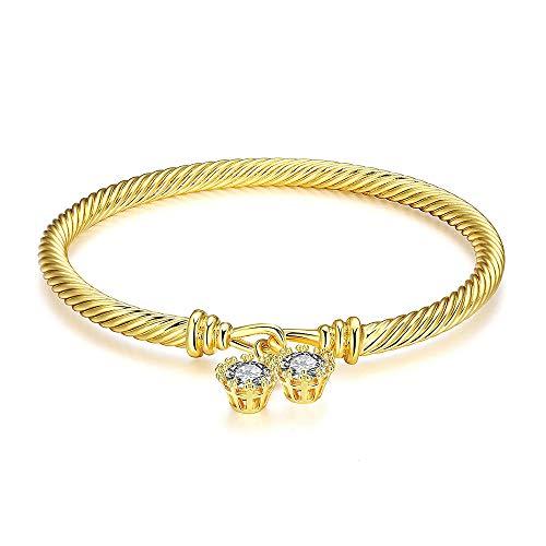 Hopeu5 femminile romantico zircone cubico nobile moda placcato oro bracciali braccialetti miglior regalo gioielli per fidanzata moglie mamma figlia figlia (Sty1 Diamond)