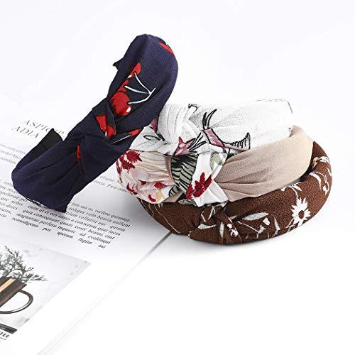 Sethexy Largo Boho Fiore Cerchietti Criss Cross Elastico Cerchi per capelli 4 pezzi annodata Foulard Yoga Fascia per le donne e le ragazze