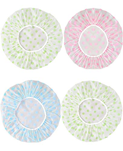 4 Pezzi Cuffia Doccia Riutilizzabile Impermeabile Cuffia da Bagno Elastica Grande Shower Caps, Capelli Protezione per Donna Doccia Spa Salon Bagno Uso Domestico