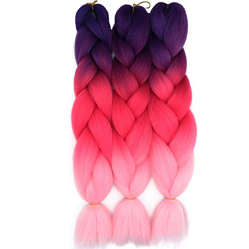 Treccine Extension Capelli Sintetici per Treccine Africane 3 Ciocche Trecce Jumbo Braiding Hair Kanekalon (Viola&Rosa rossa&Rosa)
