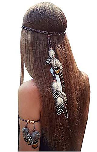 Fodattm - Set di 2 copricapo con piume, con fascia da braccio abbinata, stile bohémien, fatto a mano, tribale, indiano, accessorio per capelli per ragazze e donne