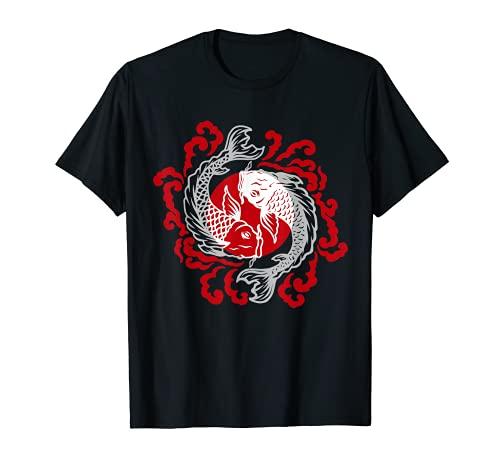 Giapponese Pesci Tatuaggio Pesci Yin Yang T-shirt Maglietta