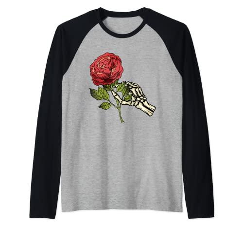 Mano di scheletro bianco che tiene un teschio di fiore del tatuaggio della rosa rossa Maglia con Maniche Raglan