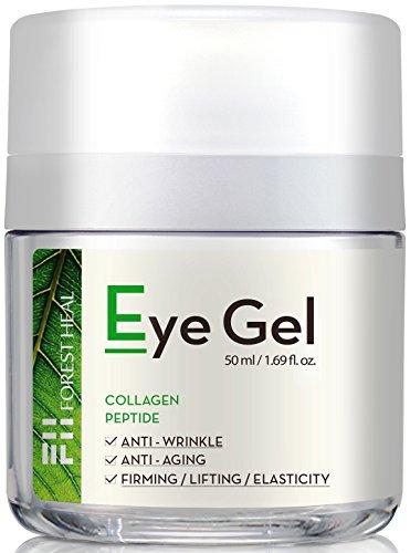 Forest Heal - Gel per occhi ai peptidi di collagene e niacinamide,anti-età naturale, antirughe e idratante, adatto per la parte inferiore e per il contorno occhi–in barattolo da 50ml.